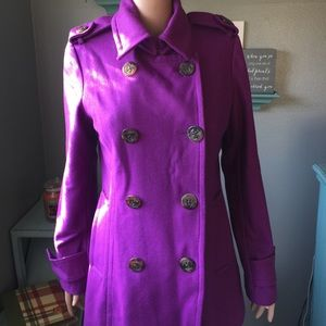 Fuchsia pea coat with anchor button detail